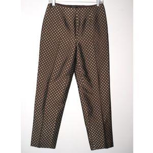 Carlisle brown slacks with aqua geometric brocade